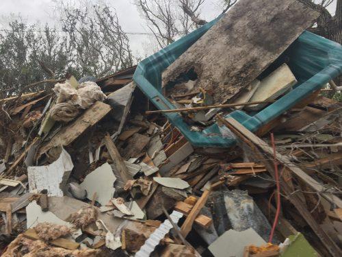 debris left behind after Hurricane Harvey